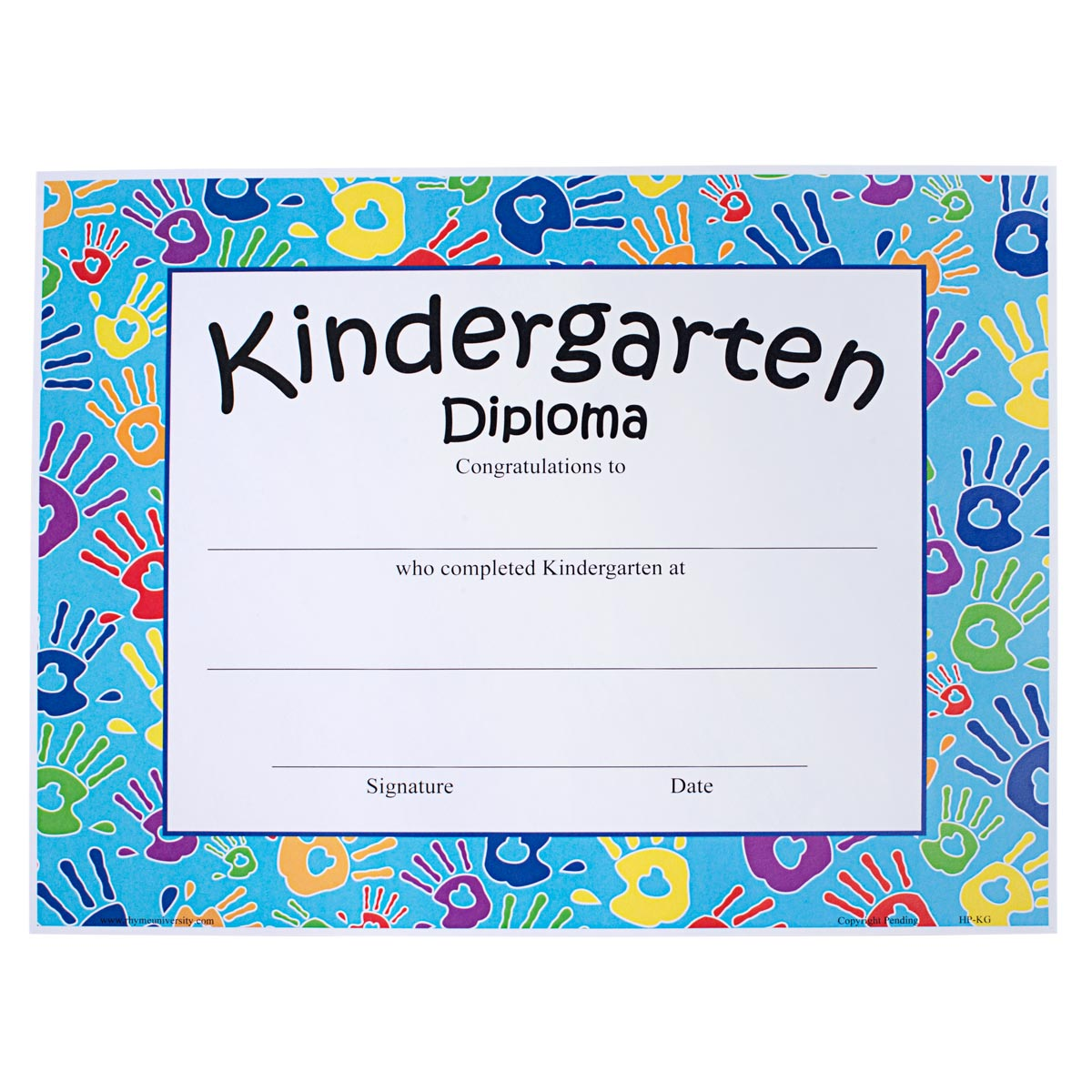 handprints kindergarten diploma rhyme university s