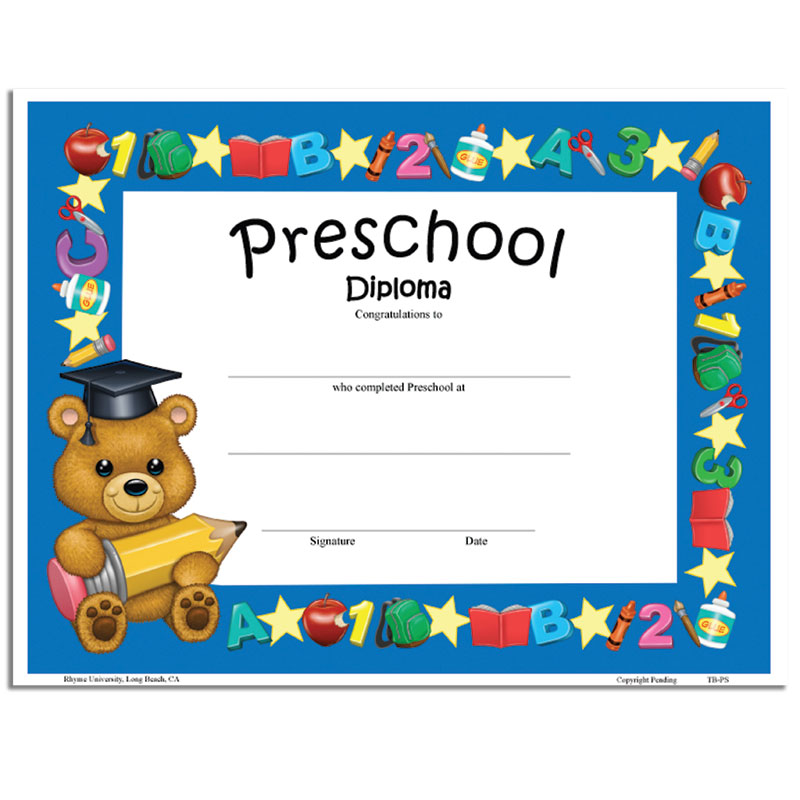 teddy bear diploma preschool