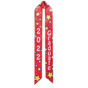 2019 Graduation Sash - Red and Yellow Stars